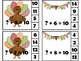 Turkey Addition Sums to 10 Clip Cards