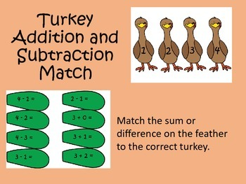 Turkey Addition and Subtraction Match