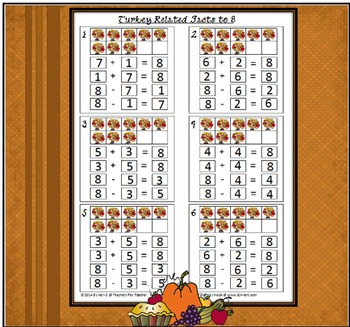 Turkey Addition and Subtraction Related Facts with Sums from 5 to 10