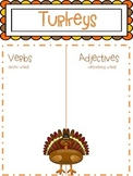 Turkey Adjective / Verb chart FREEBIE