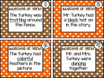 Turkey Adjectives and Verbs Sort Activity