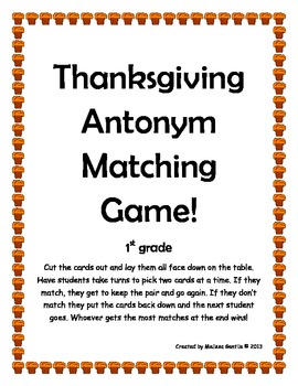 Turkey Antonym Matching Game-1st Grade