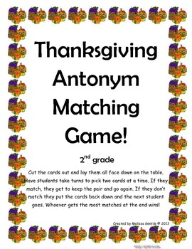 Turkey Antonym Matching Game- 2nd Grade