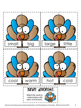 Turkey Activity: Turkey Antonyms Game and Puzzle Cards