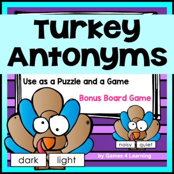 Turkey Activity: Turkey Antonyms Game: Antonyms Match Game