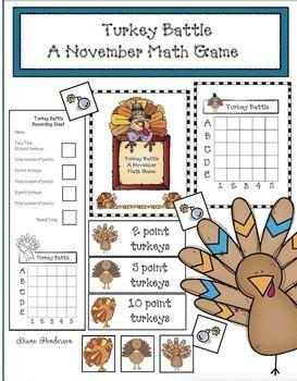 """Turkey Battle!"" A Super-Fun November Math Game"