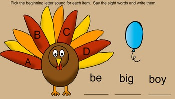 Turkey Beginning Letter Sounds and Sight Words Smartboard