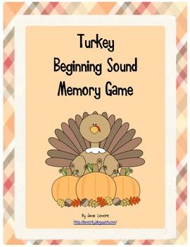 Turkey Beginning Sound  Memory Game