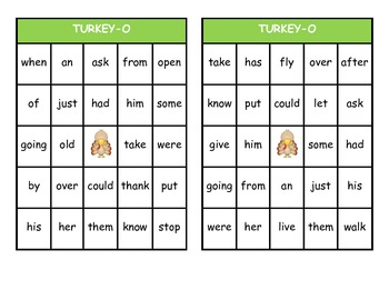 Turkey Bingo:  Dolch Grade One High Frequency Words