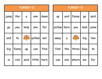 Turkey Bingo: Dolch Pre-Primer High Frequency Words