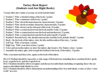 Turkey Book Completion -- Just Right Book