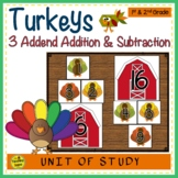 Turkey Build 3 Addend Addition & Subtraction Number Sentences