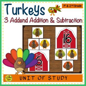 Turkey Build 3 Addend Addition & Subtraction Number Sentences
