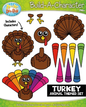 Turkey Build-A-Character Clipart Set — Includes 25+ Graphics!