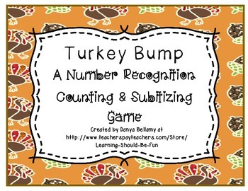 Turkey Bump - A Thanksgiving Themed Counting, Adding, & Subitizing Game