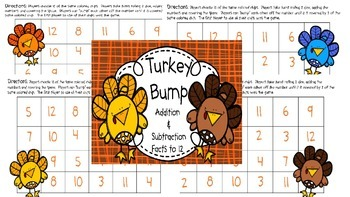 Turkey Bump (Addition and Subtraction Facts to 12 and 18)