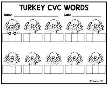 Turkey CVC Words Center
