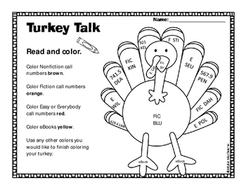 Turkey Call Number Activity Sheet
