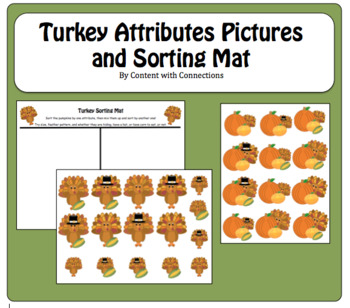 Turkey Cards for Sorting by Attribute: November/Thanksgiving Math Center/Lesson