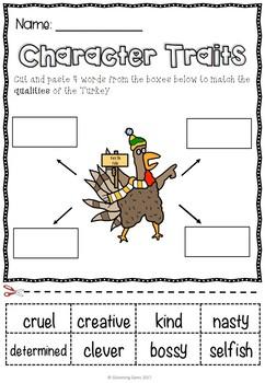 Turkey Claus - Character Trait Activities