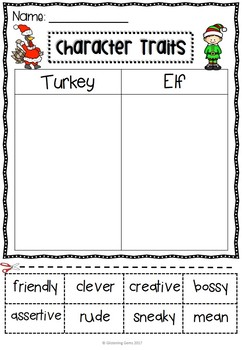Turkey Claus - Character Traits Sorting