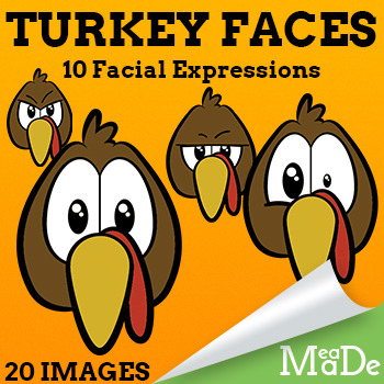Turkey Clip Art - Turkey Faces with Expressions