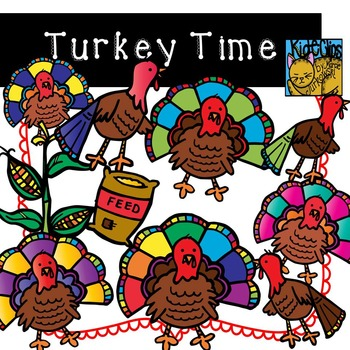 Turkey Clip Art for Thanksgiving Theme by Kid-E-Clips Commercial Personal