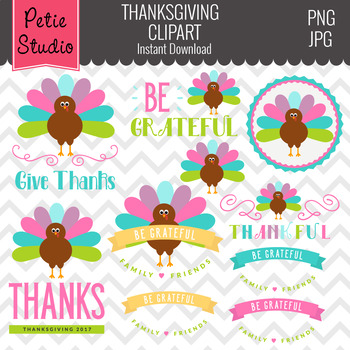 Turkey Clipart // Thanksgiving Clipart // Thanksgiving Gre