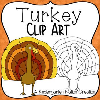 Turkey Clipart for Thanksgiving ~ Color & Black Line Images ~ Transparent .PNGS