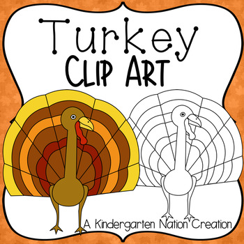 Turkey Clipart for Thanksgiving ~ Color & Black Line Image
