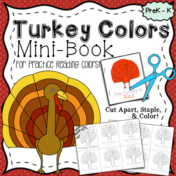 Turkey Colors, Easy-To-Read Mini-Book~ Color & Learn~ Printable Thanksgiving Fun