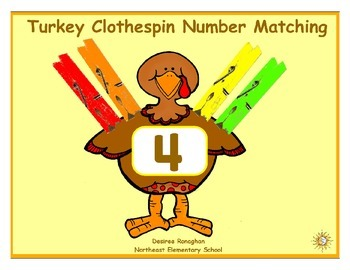 Turkey Clothespin Number Matching: A Math Center (K.CC.4b)