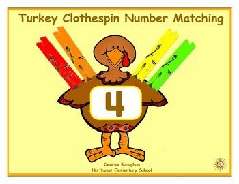 Turkey Clothespin Number Matching: A Math Center (K.CC.4b)
