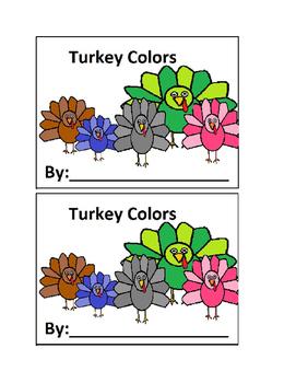 Turkey Color Book Emergent Reader for Preschool or Kindergarten