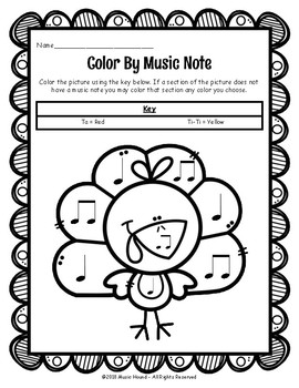 Turkey Color By Music Note Rhythm Coloring - Quarter Note/Eighth Note