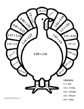 Turkey Color By Number Adding Decimals