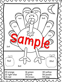 Turkey Color By Number Multiplication and Division