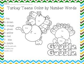 Turkey Color By Teen Numbers and Number Words