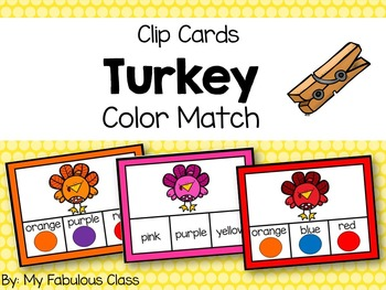Turkey Color Clip Cards