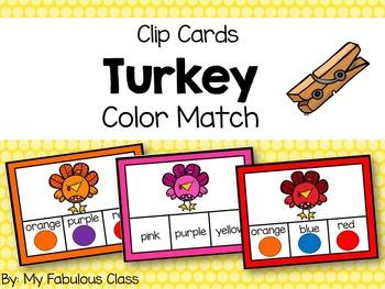 Turkey Color Clip Cards
