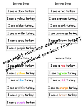 Turkey Color Sight Word File Folder Game for Early Childhood Special Education