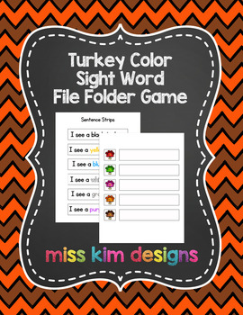 Turkey Color Sight Word File Folder Game for Early Childho
