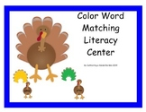 Turkey Color Word Literacy Center