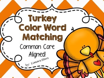 Turkey Color Word Matching {Thanksgiving}