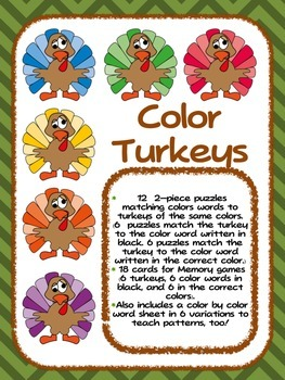 Turkey Color Words - Thanksgiving Fun