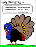 Turkey Color by Music (Happy Thanksgiving music handout)