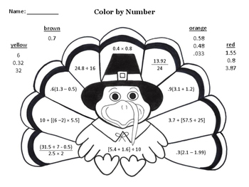Turkey Color by Number (Decimal Order of Operations)