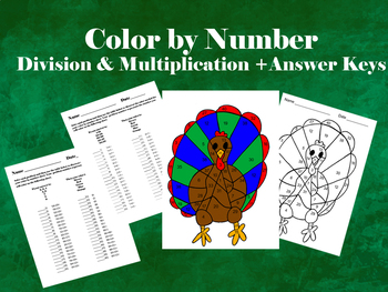 Turkey: Color by Number- Division & Multiplication