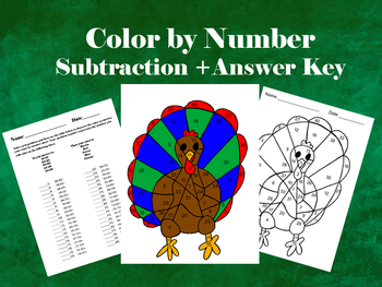 Turkey: Color by Number- Subtraction