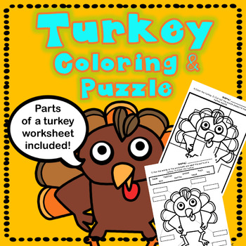 Turkey Coloring: Puzzle and Parts of a Turkey Worksheet